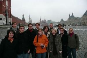 Die Reisegruppe auf dem Roten Platz in Moskau